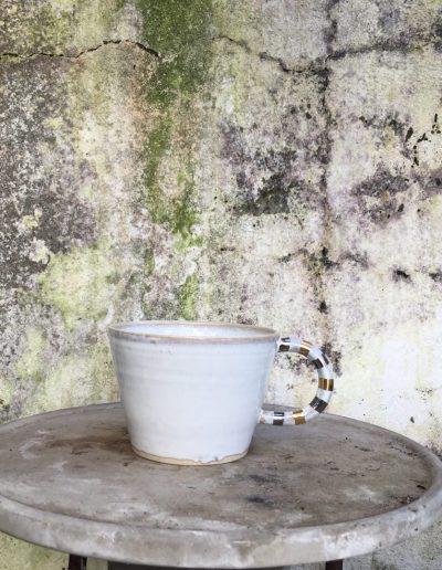 Inspirera Keramik - Stor kopp med randigt handtag